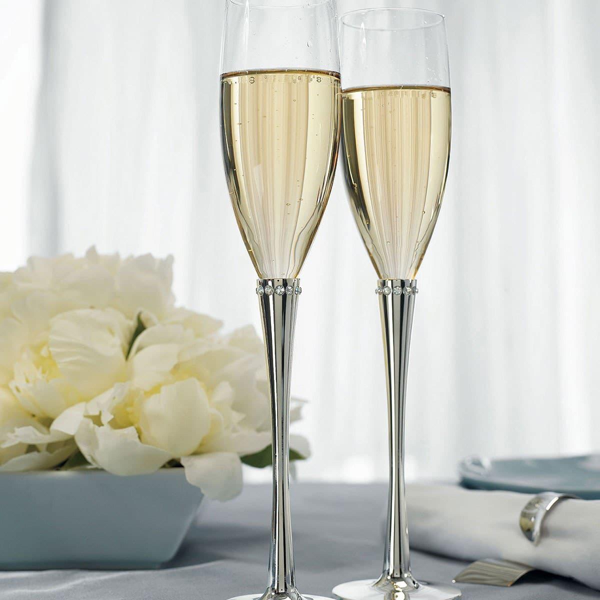 Champagneglazen Zilver met Kristallen