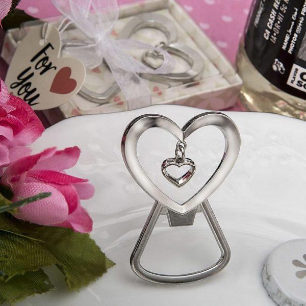 Hartvormige zilveren metalen flesopener
