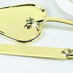 Taartschep en mes Hart Design Goud