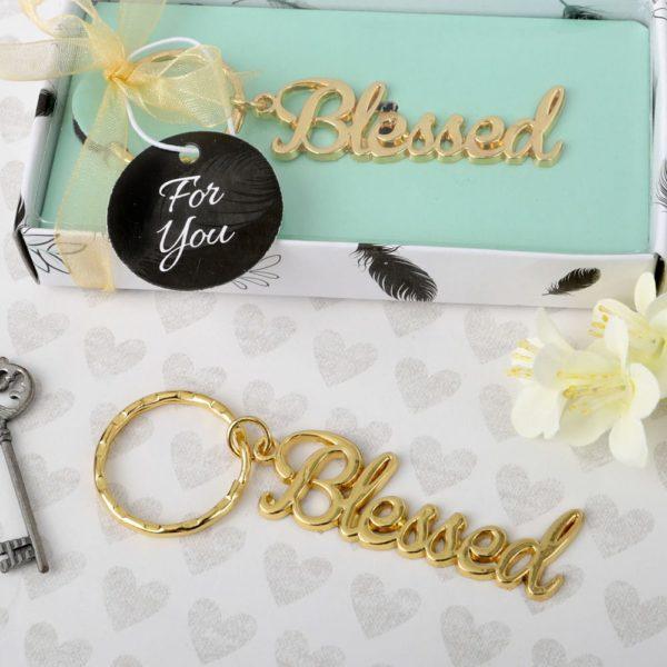 Goud Metalen Sleutelhanger Blessed