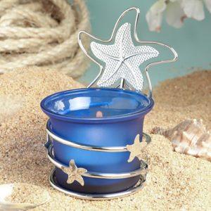 Blauwe Waxinelichtjes met Zilveren Zeesterren
