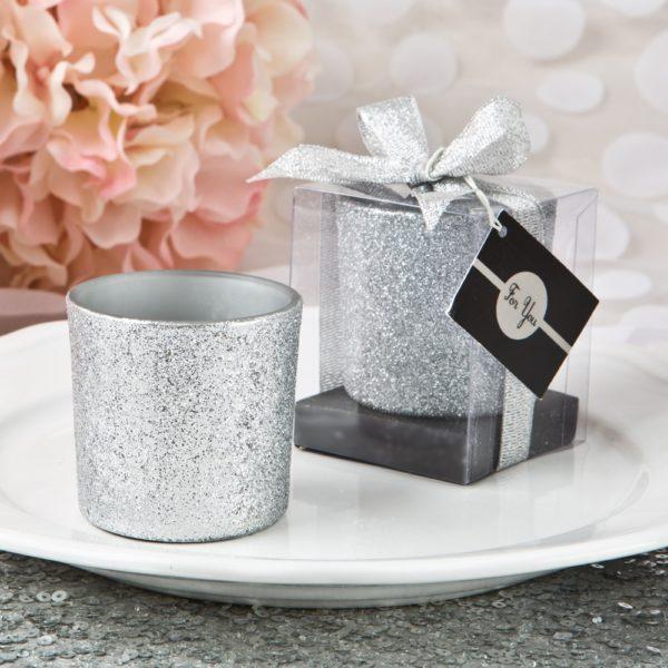 Bling Collectie Zilver Glitter Waxinelichtjes