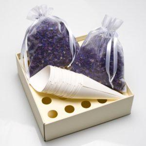 Paarse Delphinium Bloemblaadjes met tray en kegels