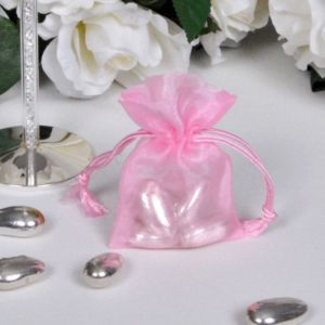 Organza zakjes roze klein
