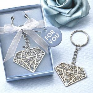 Diamant Design Sleutelhanger Zilver Metaal
