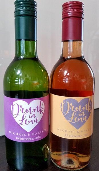 Drunk in Love Wijnflesjes Etiketten