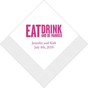 Eat, Drink & Be Married - Blokletter Bedrukte Servetten