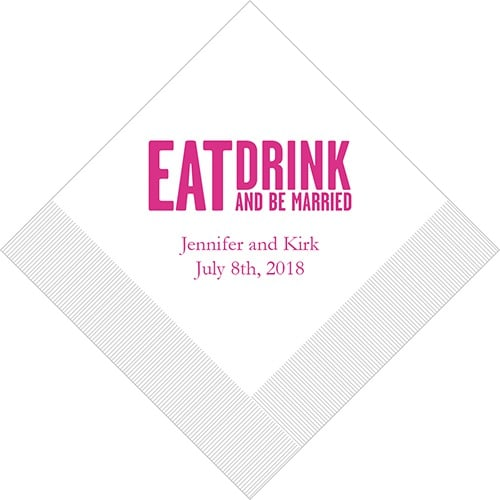 Eat, Drink & Be Married - Blokletter Bedrukte Servetten