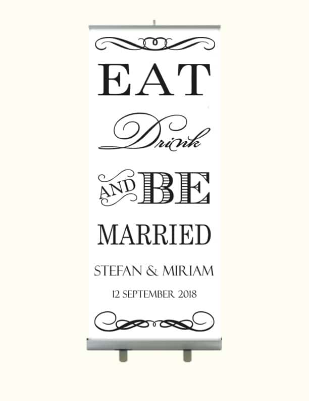 Eat Drink Be Married Trouwbanner