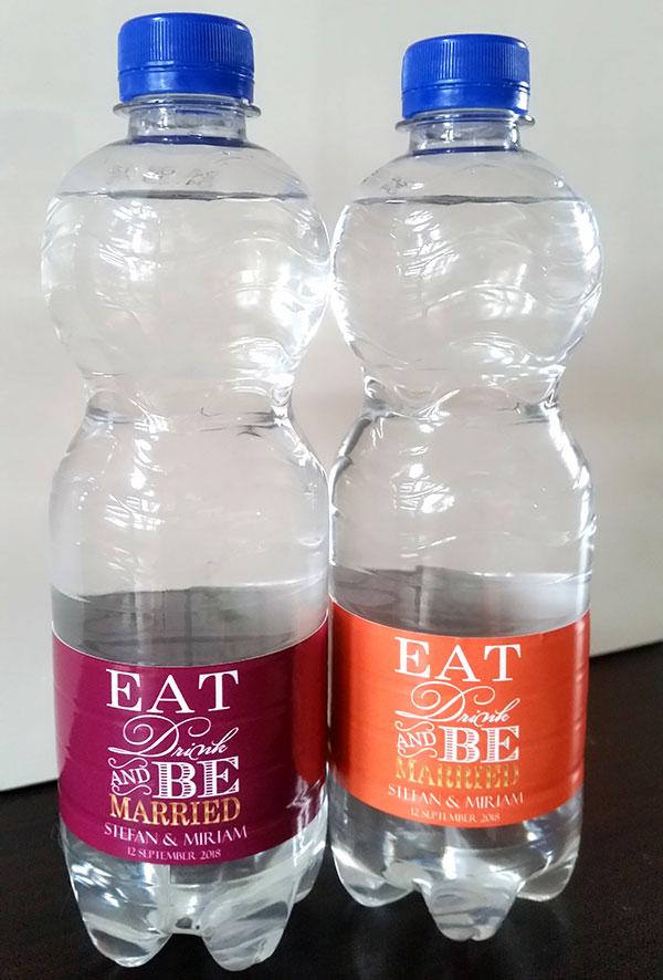 Eat Drink Be Married Waterflesjes Etiketten