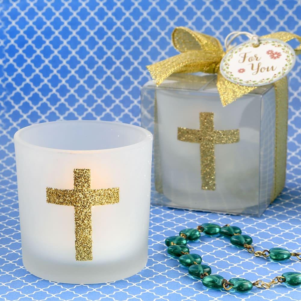 Glazen theelichthouders met kruis