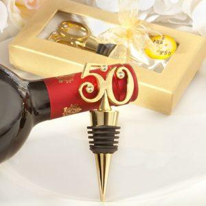 Gouden 50 Wijnstopper Jubileum Bedankjes