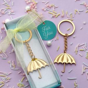 Gouden Paraplu Sleutelhanger