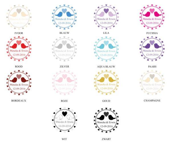 Gepersonaliseerde Loper Huwelijk Love Birds kleurenkaart