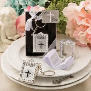 Mini Bijbel Sleutelhanger zilver