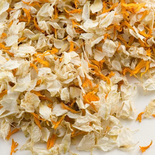Ivoor/Goud Delphinium Bloemblaadjes