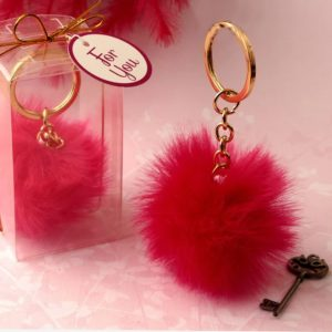 Pluizige Hot Pink Sleutelhangers