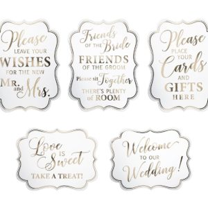 White & Gold Wedding Signs - Set van 5