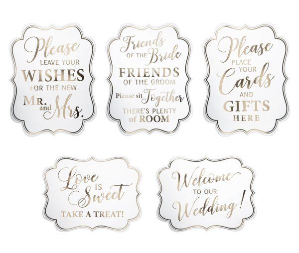 White & Gold Wedding Signs - Set van 5