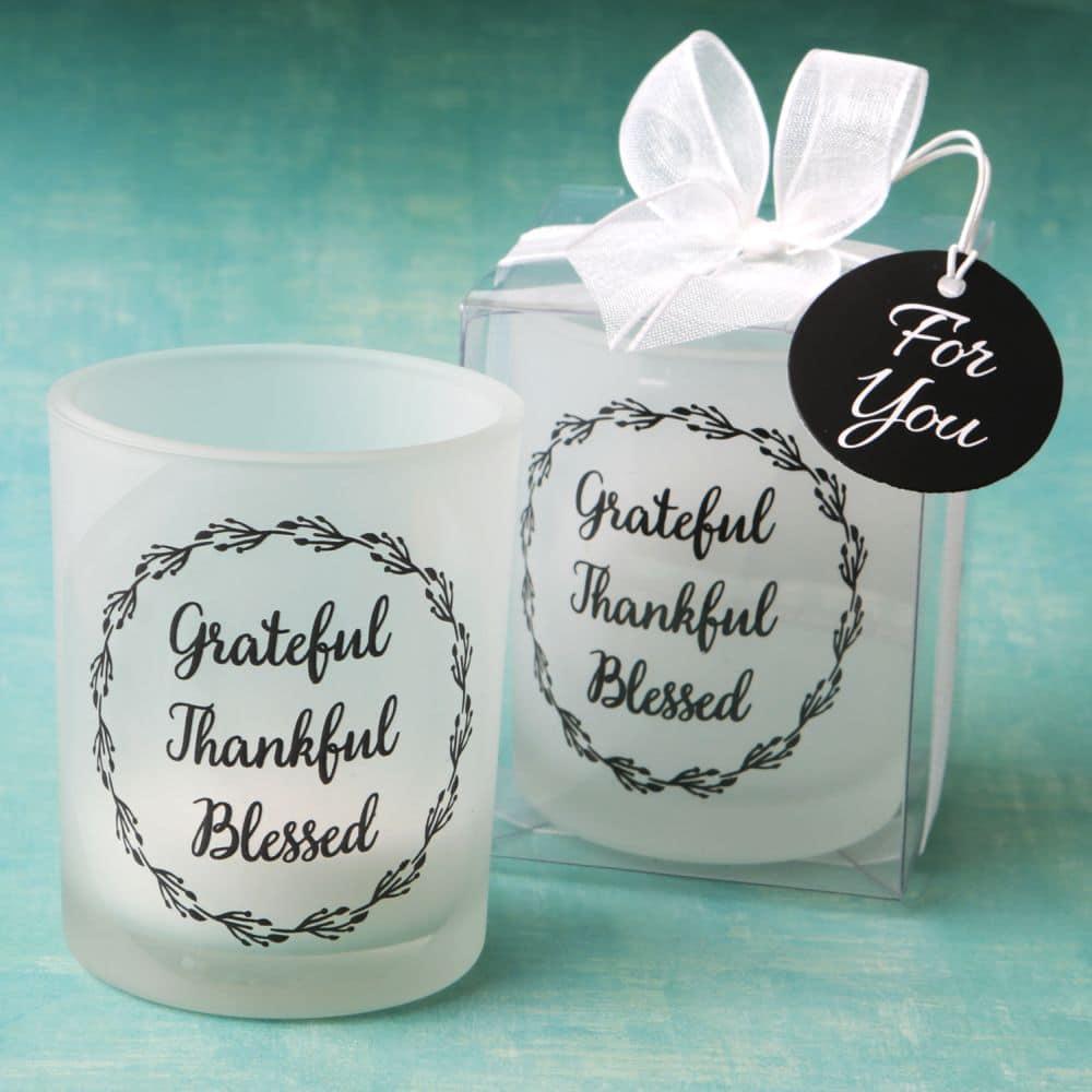 Theelichthouder Grateful, Thankful, Blessed