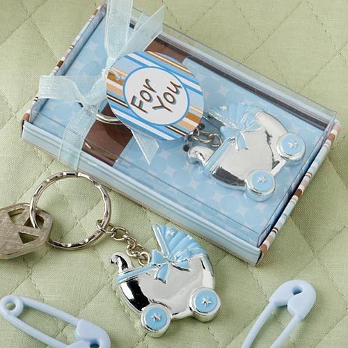Blauwe Kinderwagen Design Sleutelhanger