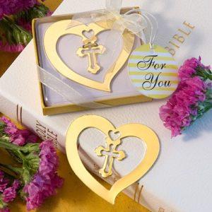 Hart Design met Kruis Boekenlegger Goud