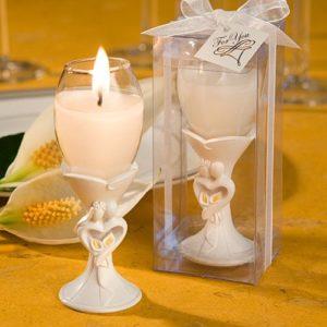Bruidspaar Champagneglas Kaarsje