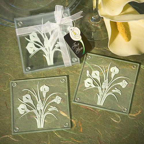 calla lily glazen onderleggers