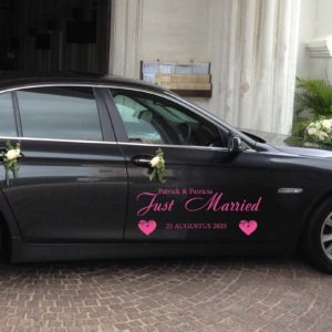 Auto Sticker Just Married Hartjes met Namen