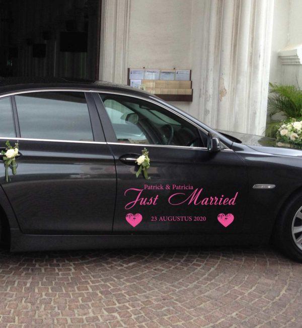 Auto Sticker Just Married Hartjes met Namen