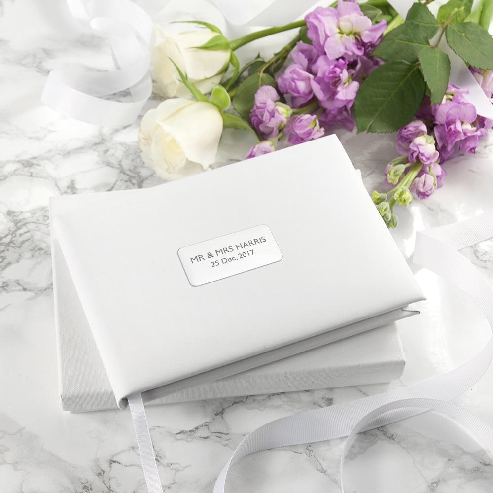 Gepersonaliseerd wit lederen gastenboek bruiloft