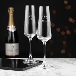 Verwonderend Champagneglazen bruiloft   Graveren met namen en datum VW-49