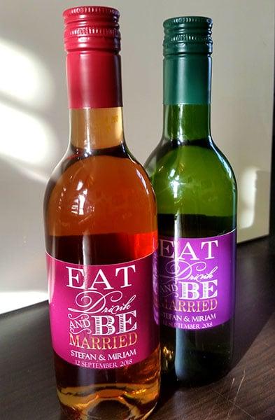 Eat Drink Be Married Wijnflesjes Etiketten