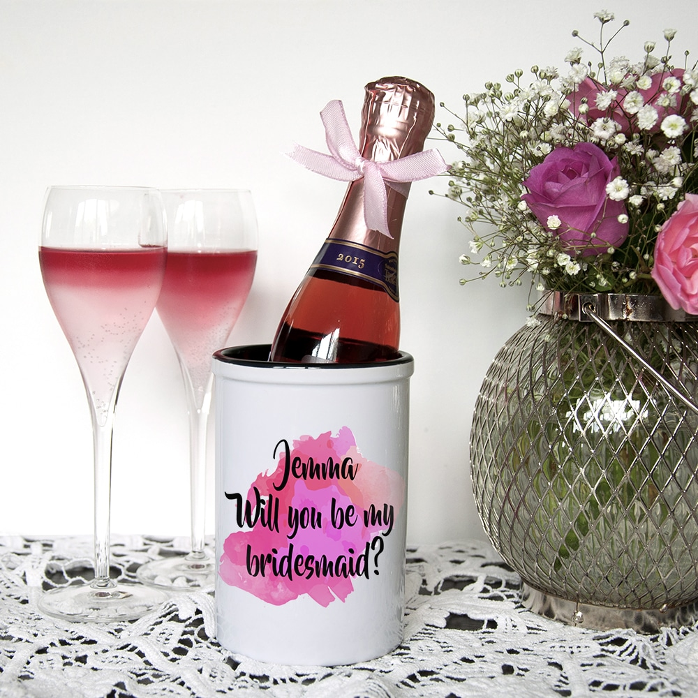 Miniatuur Champagne emmer Will You Be My Bridesmaid Gepersonaliseerd